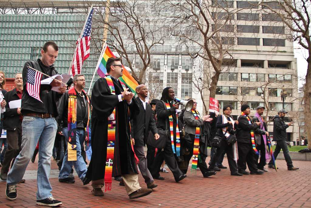 Prop. 8 opponents march from the front of the Ninth U.S. Circuit Court of Appeals to City Hall on Tuesday in San Francisco. The court ruled that the same-sex marriage ban violates the Constitution. Feb. 7, 2012. Photo by Andrew Lopez