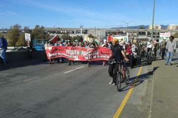 Pro-Palestinian protestors march along 7th Street toward the O