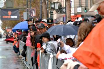 Rain or shine, Giants fans line up early along Market Street in San Francisco to catch a glimpse of the World Series Championship parade Friday, Oct. 31, 2014. This year marks the third World Series win for the Giants in the last five years.