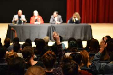 Monday, November 3, Students, parents and faculty gathered in Knuth Hall for to discuss the future of the dance department's studio FA203 Monday, Nov. 3, 2014.