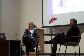 Associate professor of the communications department Christina Sabee and Dr. Abdur Chowdhury, Twitter's former chief scientist share the stage in the Humanities Auditorium, Thursday, Nov. 13, 2014. Amanda Peterson/Xpress.