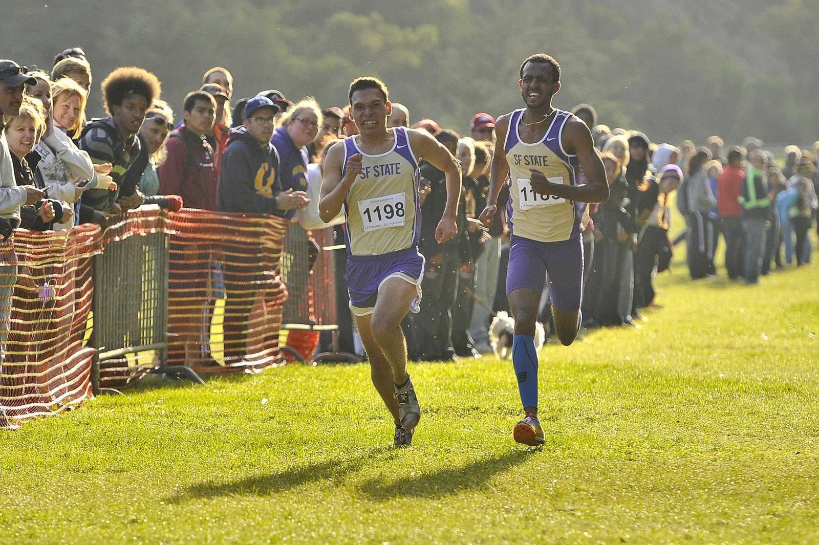 Benji Preciado (1198) and Bruk Assefa (1185) sprint for 6th place at the mens race of the SF State invitational at Speedway Meadows in Golden Gate Park. Preciado crosses the line before Assefa. Friday, Oct. 11, 2013.