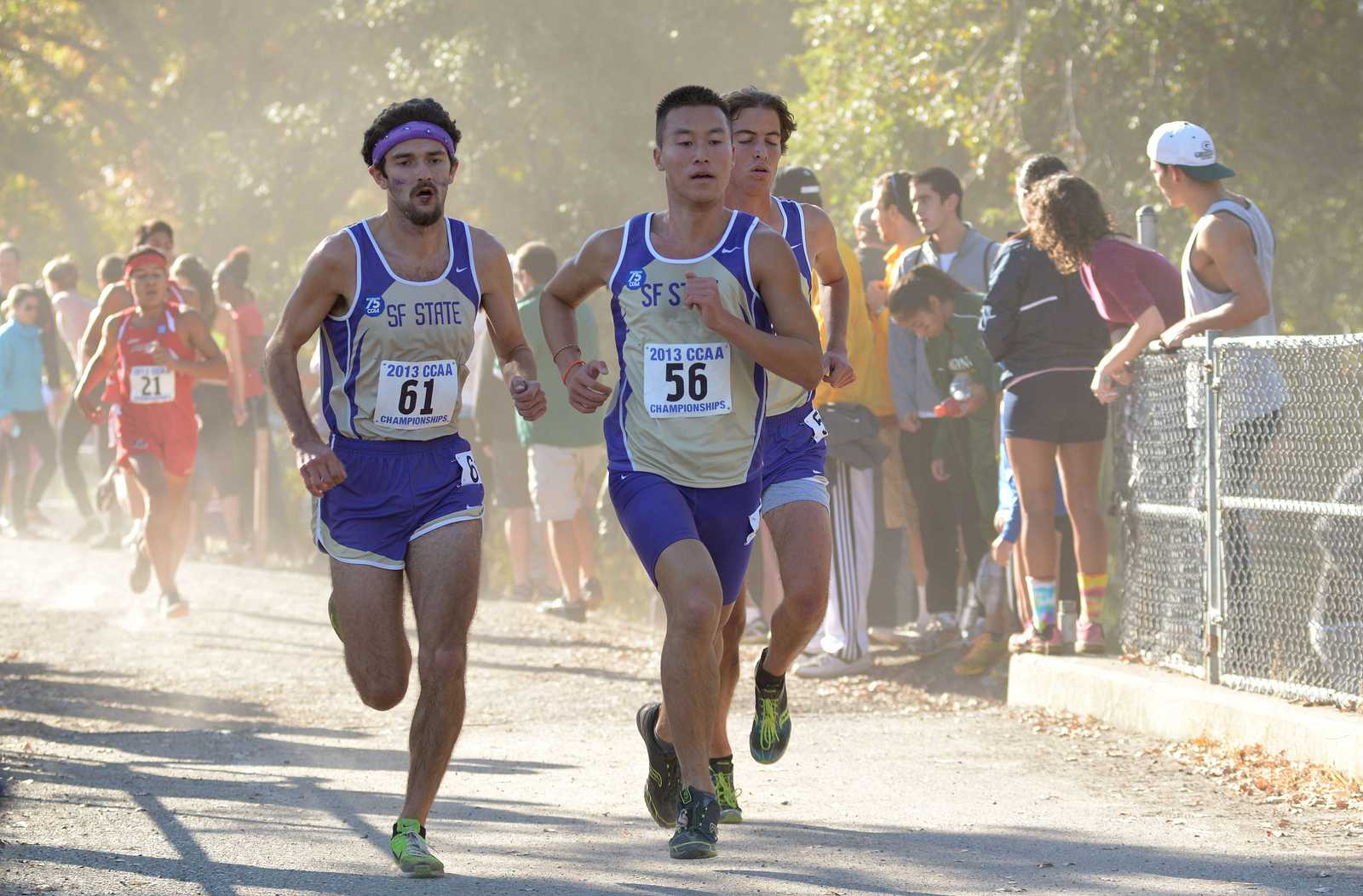 (Left to Right) Logan Smith, Ryan Chio, and Michael Garaventa run at the CCAA championships on Oct. 26, 2013 in Chico, Calif. The Gators' men's team placed 4th in the championship race. Photo courtesy of Dan Pambianco
