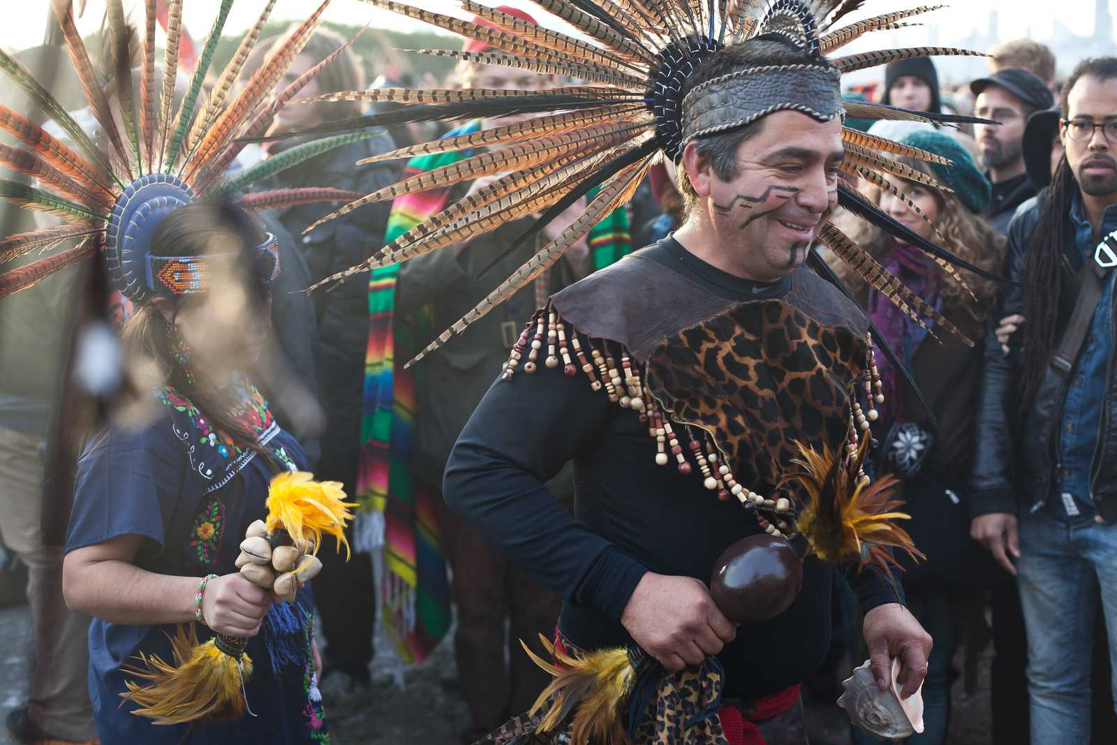 Pomo and Aztec dancers are a few of the participants in the Native American Sunrise Ceremony at Alcatraz on Thursday, Nov. 28. The annual ceremony commemorates the 1969-1971 activist occupation. Photo by Dariel Medina / Xpress